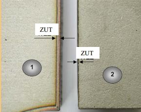 Usporedba veli!ine zone utjecaja topline kod plazma rezanja na suho (1) i pod vodom (2)